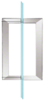 "CRL SQ8X8CH Polished Chrome 8"" x 8"" SQ Series Square Tubing Back-to-Back Pull Handles"