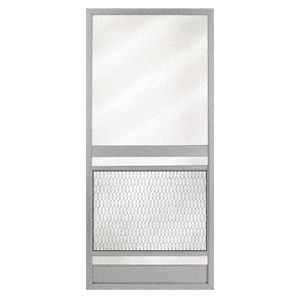 """Pioneer KBS Gray 36"""" x 80"""" Steel Hinged Screen Door"""