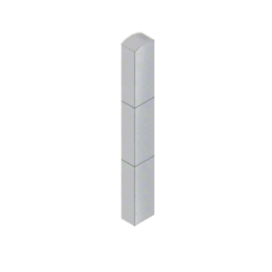 """CRL BLR64RV1S Stainless Steel Bollard 6"""" x 4"""" Rectangular with Domed Top and Single Line Accents"""