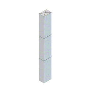 """CRL BLR64PV1S Stainless Steel Bollard 6"""" x 4"""" Rectangular with Raised Top and Single Line Accents"""