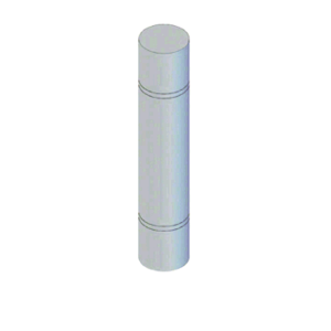 """CRL BLRRV2SND Stainless Steel Bollard 9"""" Round with Flat Top and Double Line Accents - Non-Directional"""