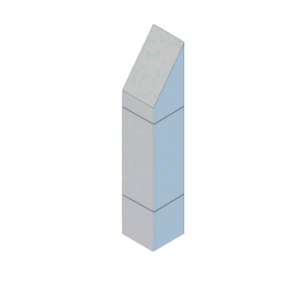 """CRL BLR37SV1SND Stainless Steel Bollard 9"""" Square with Angled Top and Single Line Accents - Non-Directional"""
