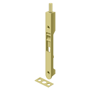 "Deltana 7FBR3 7"" Length Flush Door Bolt Round Corner Polished Brass"