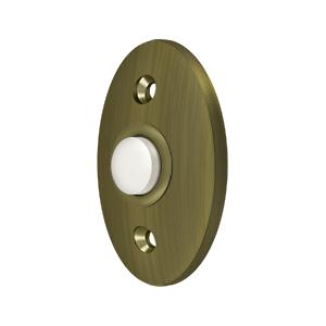 """2-3/8"""" Height X 1-5/8"""" Width Standard Oval Bell Button Antique Brass"""