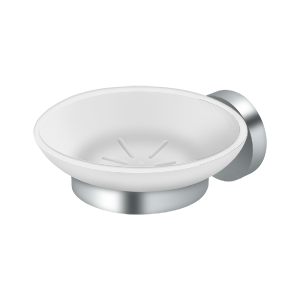 """Deltana BBS2012-26 4-3/8"""" Diameter Sobe Series Frosted Glass Soap Dish With Mount Chrome"""