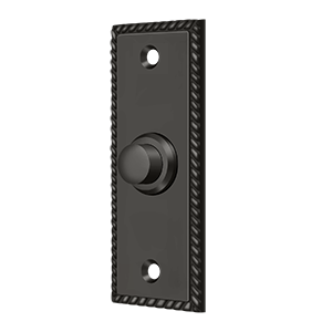 """Deltana BBSR333U10B 3-1/4"""" Height X 1-1/4"""" Width Contemporary Rectangular Bell Button With Rope Oil Rubbed Bronze"""