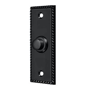 "Deltana BBSR333U19 3-1/4"" Height X 1-1/4"" Width Contemporary Rectangular Bell Button With Rope Paint Black"