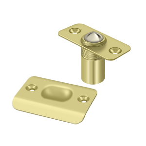 "2-1/8"" Height X 1"" Width Traditional Style Adjustable Ball Catch With Strike Plate Round Corners Polished Brass"