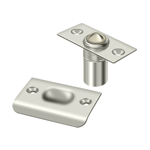 """Deltana BC218U14 2-1/8"""" Height X 1"""" Width Traditional Style Adjustable Ball Catch With Strike Plate Square Corners Polished Nickel"""