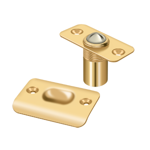 """Deltana BC218RCR003 2-1/8"""" Height X 1"""" Width Traditional Style Adjustable Ball Catch With Strike Plate Round Corners PVD Polished Brass"""