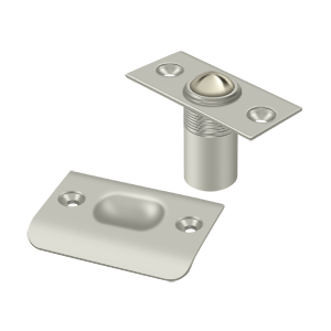 """Deltana BC218U15 2-1/8"""" Height X 1"""" Width Traditional Style Adjustable Ball Catch With Strike Plate Square Corners Satin Nickel"""