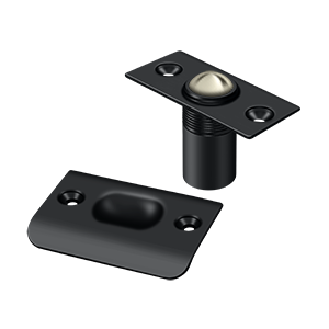 """Deltana BC218U19 2-1/8"""" Height X 1"""" Width Traditional Style Adjustable Ball Catch With Strike Plate Square Corners Black"""