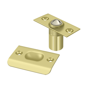 """Deltana BC218U3 2-1/8"""" Height X 1"""" Width Traditional Style Adjustable Ball Catch With Strike Plate Square Corners Polished Brass"""