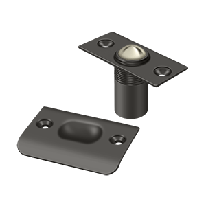 """Deltana BC218U10B 2-1/8"""" Height X 1"""" Width Traditional Style Adjustable Ball Catch With Strike Plate Square Corners Oil Rubbed Bronze"""