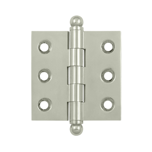 """Deltana CH2020U14 2"""" Height X 2"""" Width Full Inset Cabinet Butt Hinge With Ball Tip Polished Nickel"""