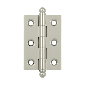 "Deltana CH2517U14 2-1/2"" Height X 1-11/16"" Width Full Inset Cabinet Butt Hinge With Ball Tip Polished Nickel Pair"