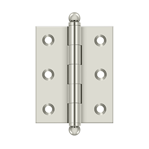 "Deltana CH2520U14 2-1/2"" Height X 2"" Width Full Inset Cabinet Butt Hinge With Ball Tip Polished Nickel"