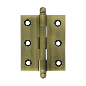 "Deltana CH2520U5 2-1/2"" Height X 2"" Width Full Inset Cabinet Butt Hinge With Ball Tip Antique Brass"