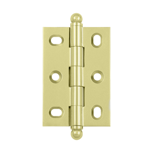 "Deltana CHA2517U3-UNL 2-1/2"" Height X 1-3/4"" Width Full Inset Cabinet Butt Hinge With Ball Tip Full Inset W/Adjustable Unlacquered Brass Pair"