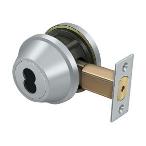 "Deltana CL200LAIC-26D 2-5/8"" Diameter Pro Series Grade 2 Commercial Deadbolt Without CYL Brushed Chrome"