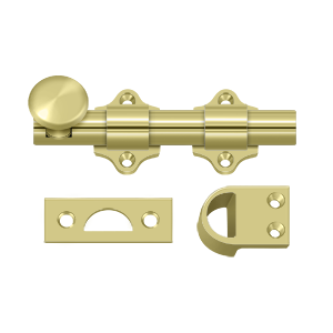 "Deltana DDB425U3 4"" Length Heavy Duty Dutch Door Bolt Polished Brass"