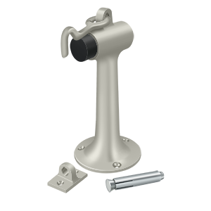 "Deltana DSF630U15 6"" Height Floor Mount Door Stop With Rubber Bumper With Hook & Eye Satin Nickel"