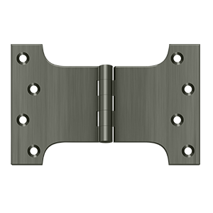 "Deltana DSPA4060U15A 4"" Height X 6"" Width Square Corner Plain Bearing Mortise Parliament Hinge Antique Nickel Pair"
