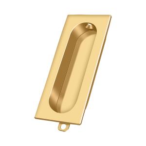 "3-1/8"" Height X 1-5/16"" Width Rectangular Accessory Flush Pull Lifetime Polished Brass"