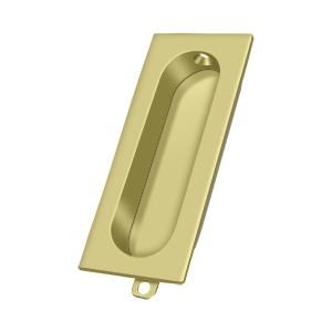 "3-1/8"" Height X 1-5/16"" Width Rectangular Accessory Flush Pull Polished Brass"