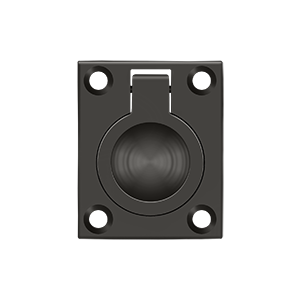 """1-3/4"""" Height X 1-3/8"""" Width Flush Mount Square Ring Pulls Oil Rubbed Bronze"""