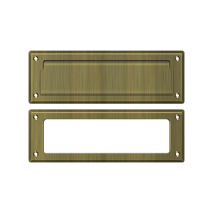 """Deltana MS626U5 8-7/8"""" Length X 2-7/8"""" Height Door Mail Slot With Interior Frame Antique Brass"""