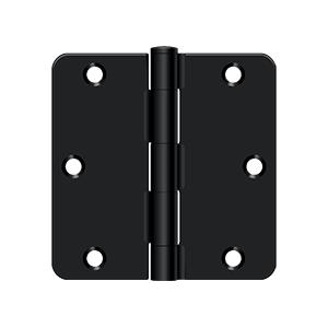 """Deltana S35R41B 3-1/2"""" Height x 1/4"""" Radius Plain Bearing Mortise Door Hinge Radius Corner Black"""