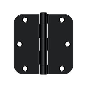 """Deltana S35R51B 3-1/2"""" Height x 5/8"""" Radius Plain Bearing Mortise Door Hinge Radius Corner Black"""