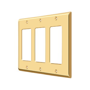 Deltana SWP4740CR003 Switch Plate Cover 3 Rocker Lifetime Polished Brass