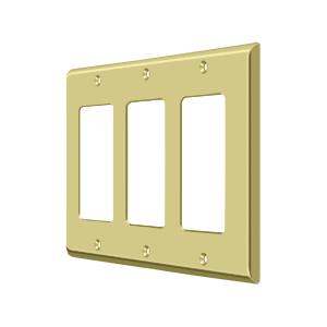 Deltana SWP4740U3 Switch Plate Cover 3 Rocker Polished Brass
