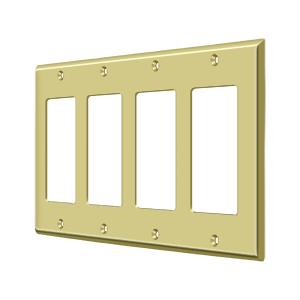 Deltana SWP4744U3 Switch Plate Cover 4 Rocker Polished Brass