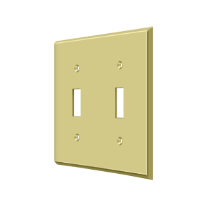 Deltana SWP4761U3 Switch Plate Cover 2 Toggle Polished Brass