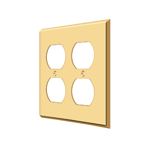 Deltana SWP4771CR003 Switch Plate Cover 4 Receptacle Lifetime Polished Brass