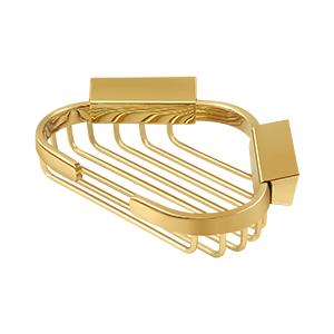 "Deltana WBC6050CR003 6"" Length X 5"" Width Triangular Corner Wire Shower Basket Lifetime Polished Brass"