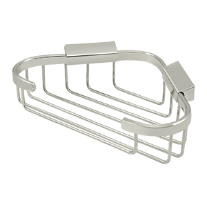 """8-3/4"""" Length X 6-7/8"""" Width Triangular Corner Wire Basket Polished Nickel"""