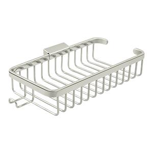 "Deltana WBR1052HU14 10-3/8"" Length Rectangular Bathroom Wire Shower Basket Shallow W/Hook Polished Nickel"