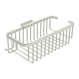 "Deltana WBR1054HU14 10-3/8"" Length Rectangular Bathroom Wire Shower Basket Deep W/Hook Polished Nickel"
