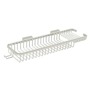 "Deltana WBR1850HU14 17-3/4"" Length Rectangular Bathroom Wire Shower Basket Deep & Shallow W/Hook Polished Nickel"