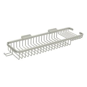 "Deltana WBR1850HU15 17-3/4"" Length Rectangular Bathroom Wire Shower Basket Deep & Shallow W/Hook Satin Nickel"