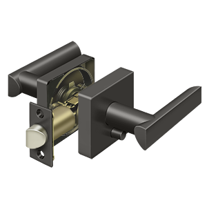 Deltana ZLLS2U10B-LH Elite Livingston Series Lever With Square Rose Privacy Left Handed Oil Rubbed Bronze