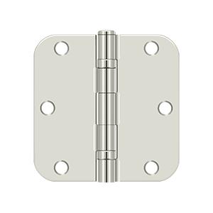 "Deltana S35R5BB14 3 1/2""x 3 1/2""x 5/8"" Radius Hinge, Ball Bearing in Polished Nickel"
