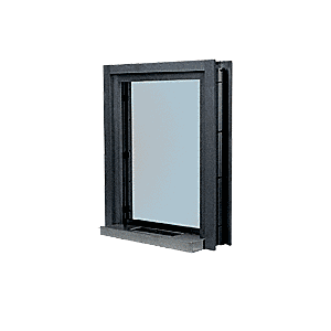 "CRL C01W12DU Dark Bronze Aluminum Clamp-On Frame Interior Glazed Exchange Window with 12"" Shelf and Deal Tray"