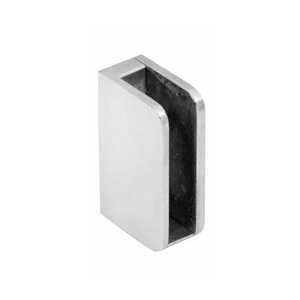 "Polished Stainless 1/4"" Closed Bottom Left Hand Flat Base Glass Clip"