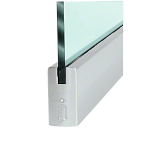 """Brushed Stainless 3/8"""" Glass 4"""" Square Door Rail Without Lock - 35-3/4"""" Length"""