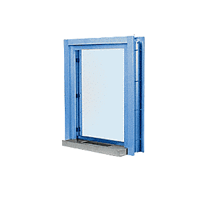 """CRL C01W12P Powder Painted (Specify) Aluminum Clamp-On Frame Interior Glazed Exchange Window with 12"""" Shelf and Deal Tray"""